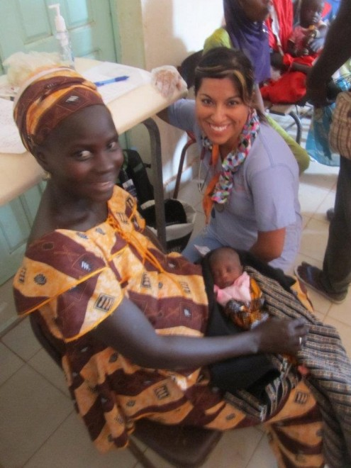 Sonia and her youngest patient in Senegal