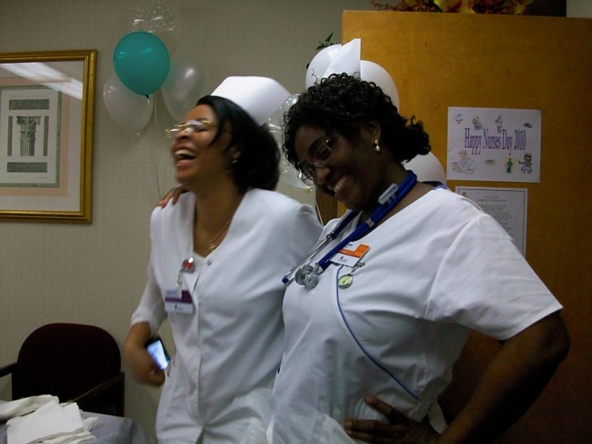 Yetunde: Me and one of the nurses celebrating Nurses Day 2010 in Silver Spring, Maryland.