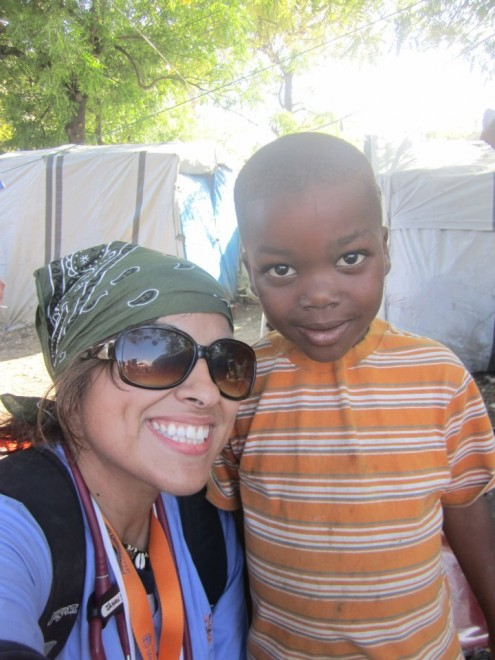 Sonia with patient in Haiti